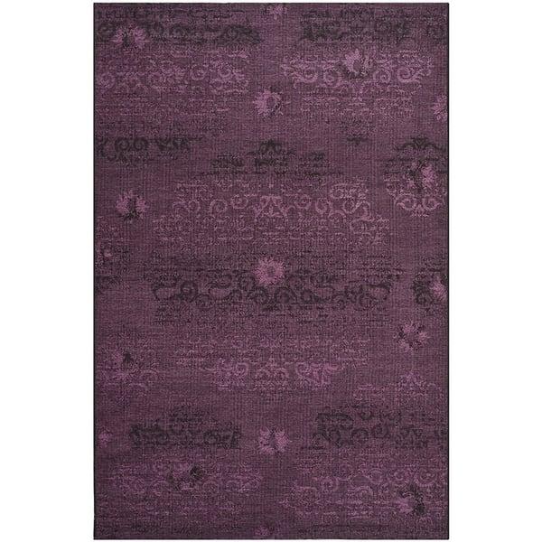 Black, Purple (56C7) Traditional / Oriental Area Rug