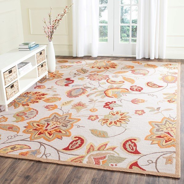 Ivory, Yellow (B) Floral / Botanical Area Rug