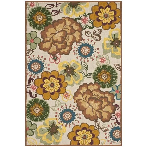 Ivory, Brown (A) Floral / Botanical Area Rug