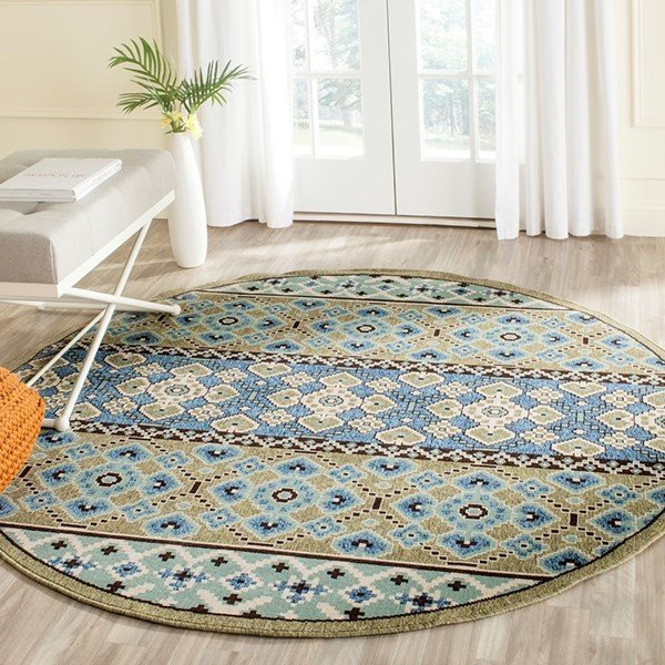 Green, Blue (0642) Contemporary / Modern Area Rug