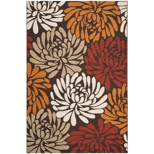 Chocolate, Terracotta (0325) Floral / Botanical Area Rug