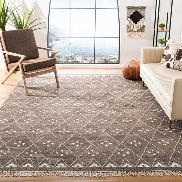 Brown, Ivory (A) Moroccan Area Rug