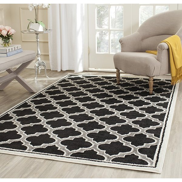 Anthracite, Ivory (G) Contemporary / Modern Area Rug
