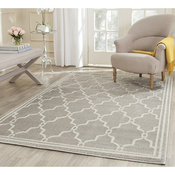 Light Grey, Ivory (B) Contemporary / Modern Area Rug