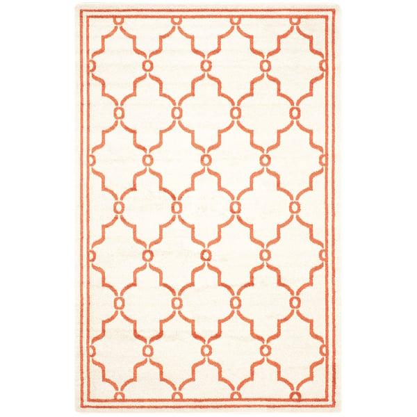 Beige, Orange (F) Contemporary / Modern Area Rug