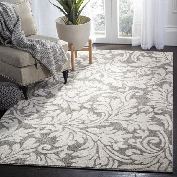 Dark Grey, Beige (R) Floral / Botanical Area Rug
