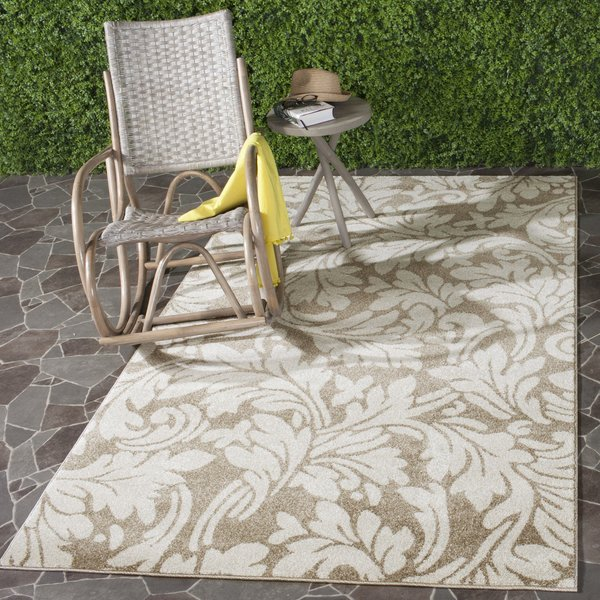 Wheat, Beige (S) Floral / Botanical Area-Rugs