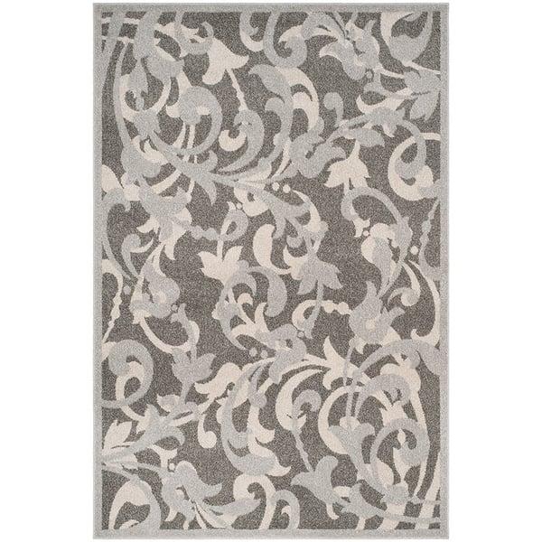 Grey, Light Grey (C) Floral / Botanical Area Rug