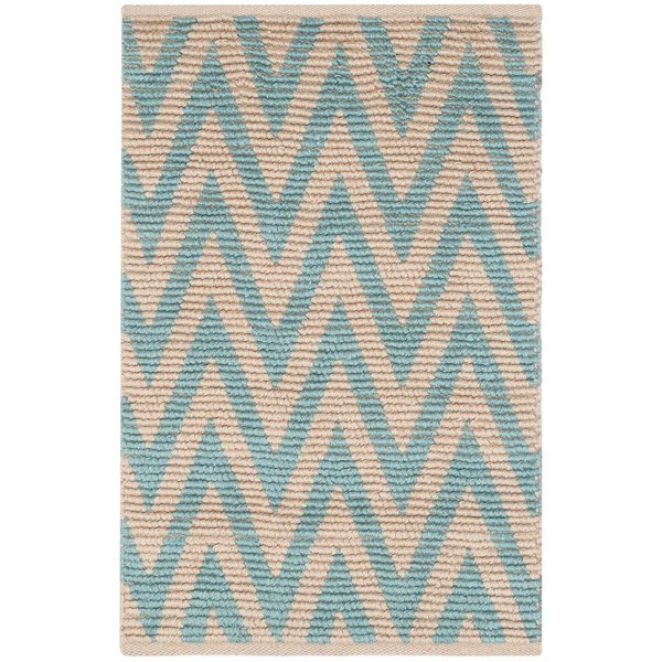 Natural, Turquoise (J) Chevron Area Rug