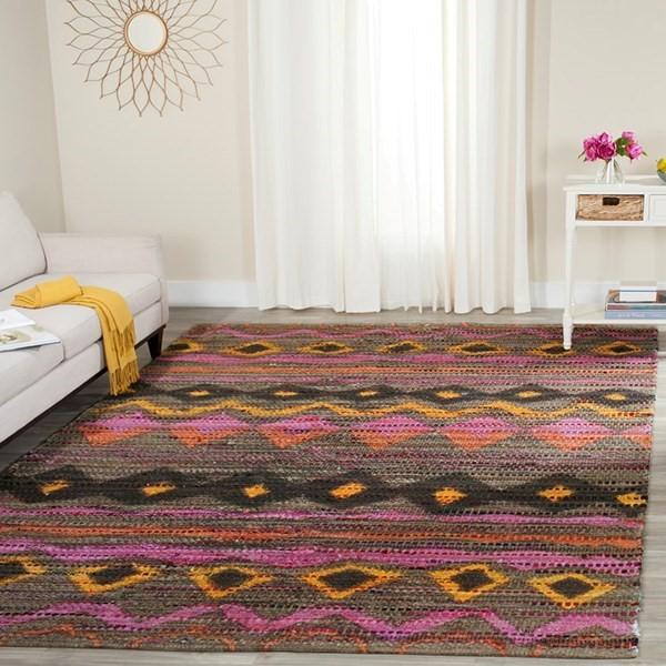 Brown, Pink (C) Moroccan Area Rug