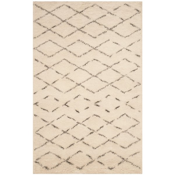 Ivory, Grey (B) Moroccan Area Rug