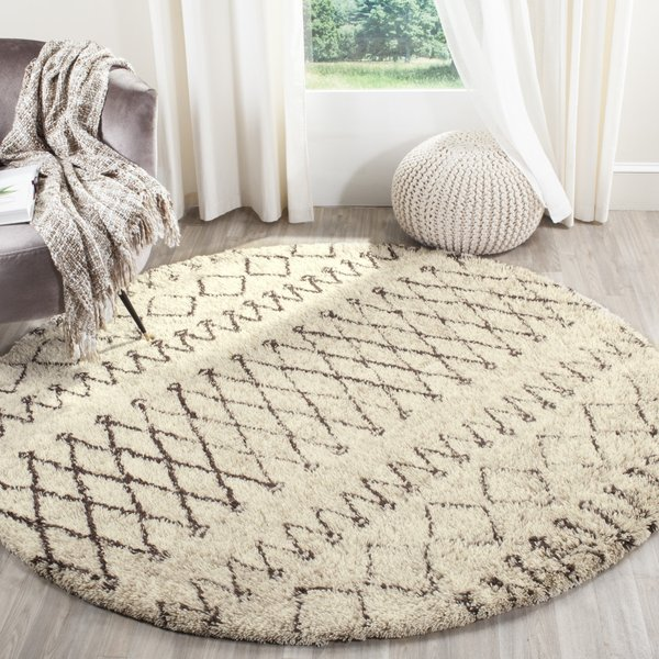 Ivory, Dark Brown (A) Moroccan Area Rug