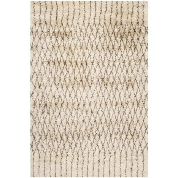White, Grey (A) Moroccan Area Rug