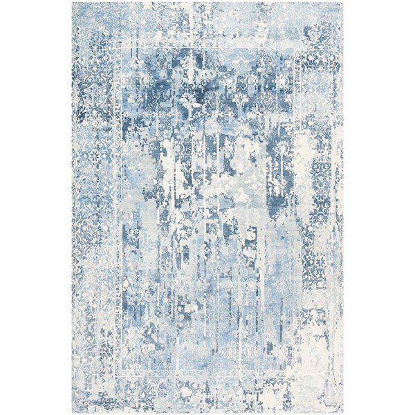 Ivory, Blue (B) Abstract Area-Rugs
