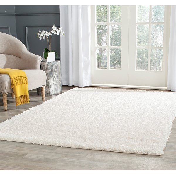 White (B) Solid Area Rug