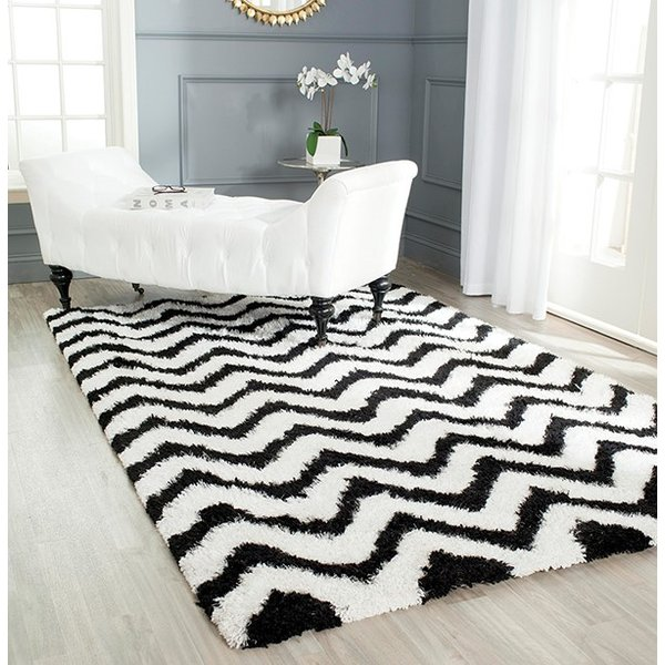 White, Black (C) Chevron Area Rug