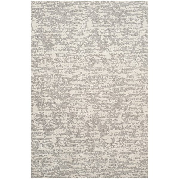 Light Grey, Ivory (A) Abstract Area Rug