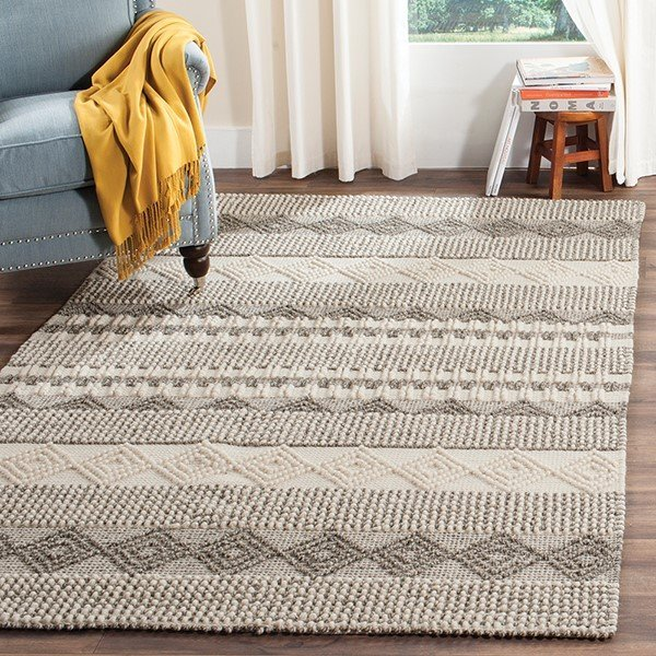 Grey, Ivory (A) Moroccan Area Rug