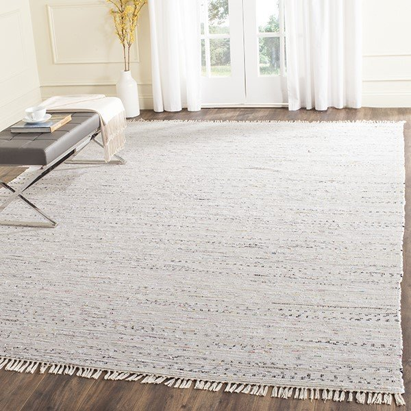 White (G) Contemporary / Modern Area Rug