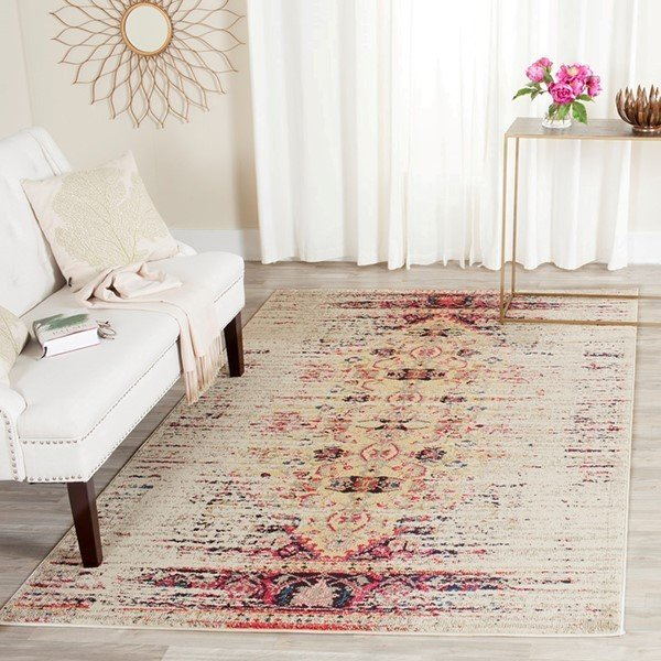 Ivory, Pink (R) Traditional / Oriental Area Rug