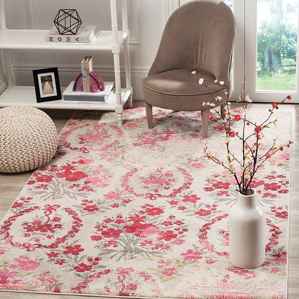 Ivory, Pink (R) Floral / Botanical Area Rug