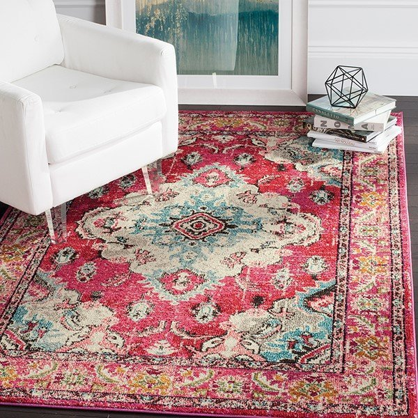 Pink (D) Traditional / Oriental Area Rug