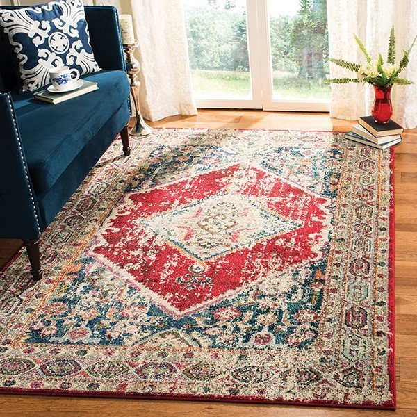 Ivory, Red (A) Vintage / Overdyed Area Rug