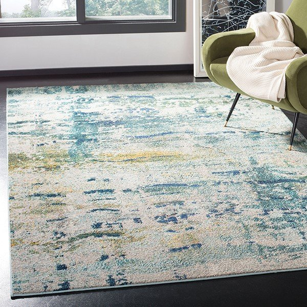 Blue, Grey (M) Abstract Area Rug