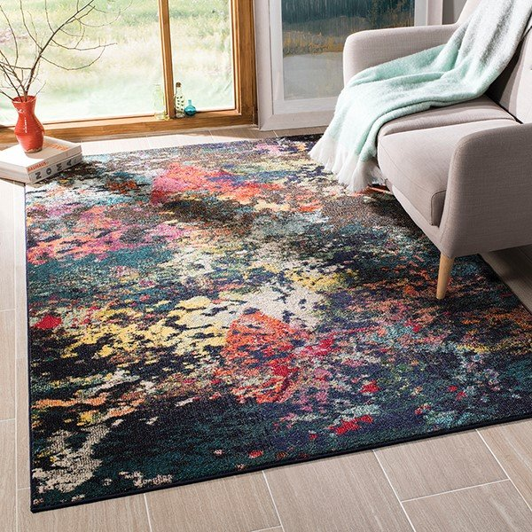 Brown, Teal (T) Abstract Area Rug
