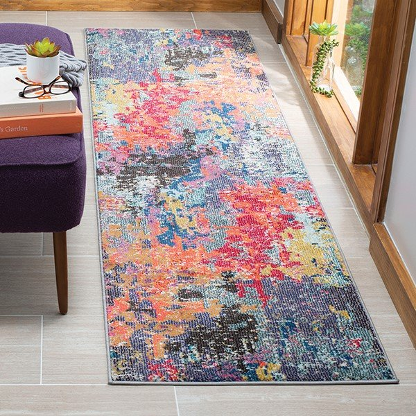 Blue, Orange (M) Abstract Area Rug