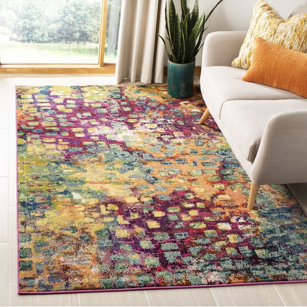 Pink (D) Contemporary / Modern Area Rug
