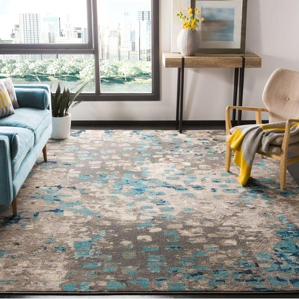 Grey, Light Blue (E) Contemporary / Modern Area-Rugs