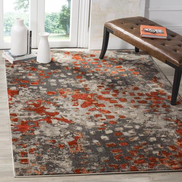 Grey, Orange (H) Contemporary / Modern Area-Rugs