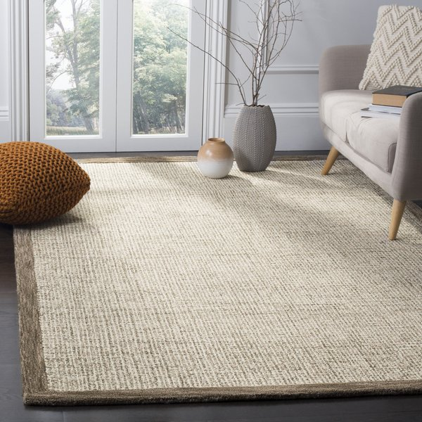 Brown, Ivory (D) Contemporary / Modern Area Rug