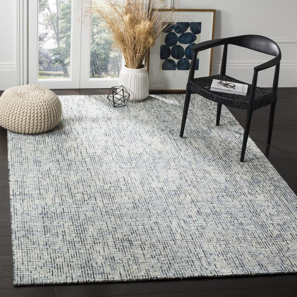 Blue, Charcoal (B) Contemporary / Modern Area Rug