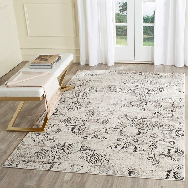 Charcoal, Cream (A) Vintage / Overdyed Area Rug