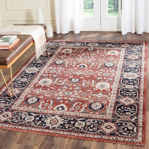 Rust, Navy (R) Traditional / Oriental Area Rug