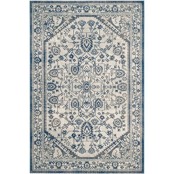 Silver, Blue (C) Traditional / Oriental Area Rug