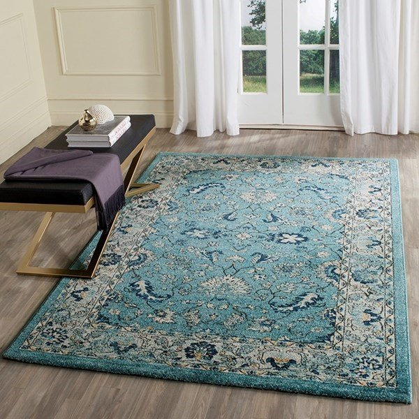 Turquoise, Beige (F) Traditional / Oriental Area Rug