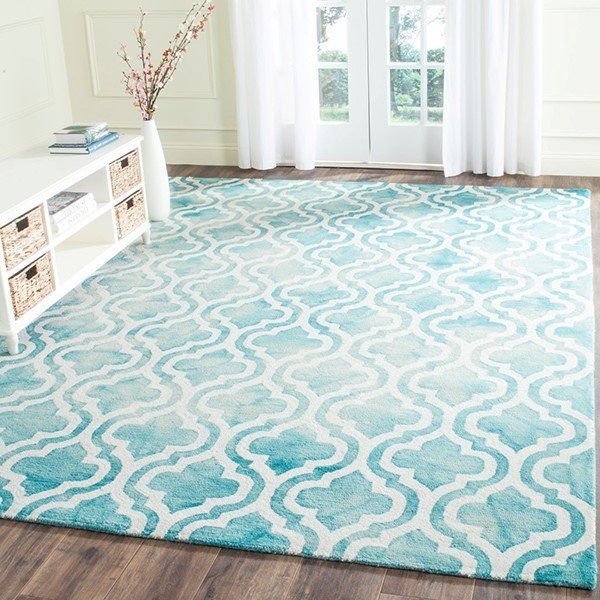 Turquoise, Ivory (D) Contemporary / Modern Area Rug