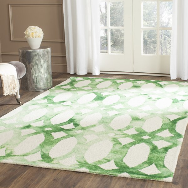 Ivory, Green (B) Contemporary / Modern Area-Rugs