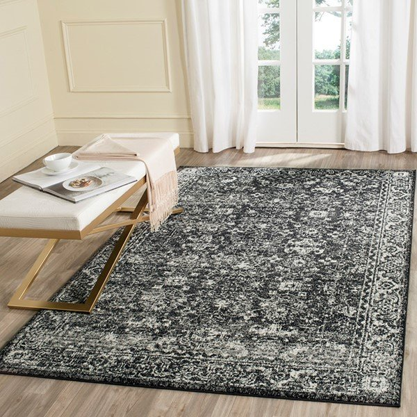 Charcoal, Ivory (K) Traditional / Oriental Area Rug