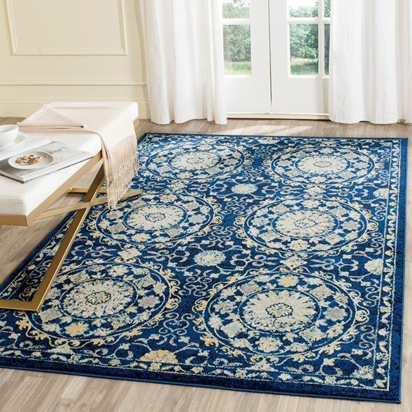 Navy, Ivory (A) Contemporary / Modern Area-Rugs
