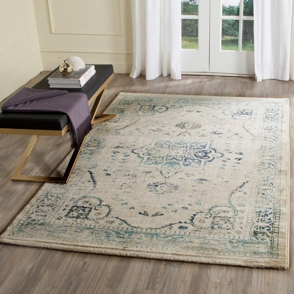 Beige, Turquoise (F) Traditional / Oriental Area Rug
