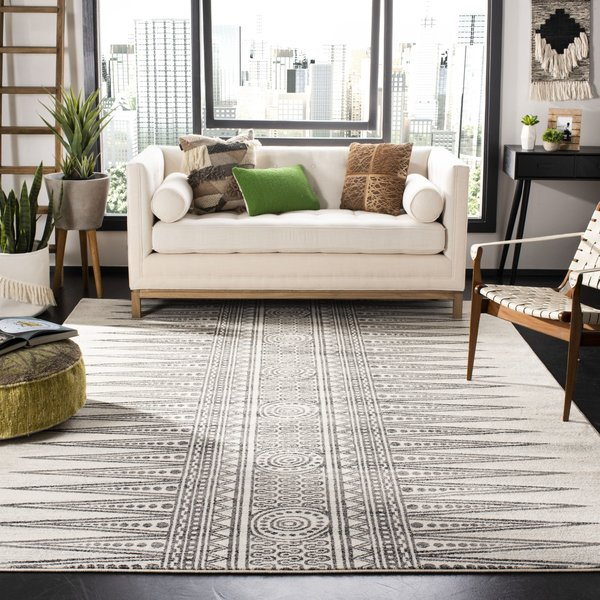 Ivory, Grey (D) Moroccan Area Rug