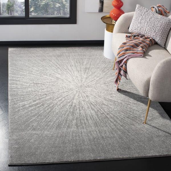 Dark Grey, Ivory (H) Contemporary / Modern Area Rug