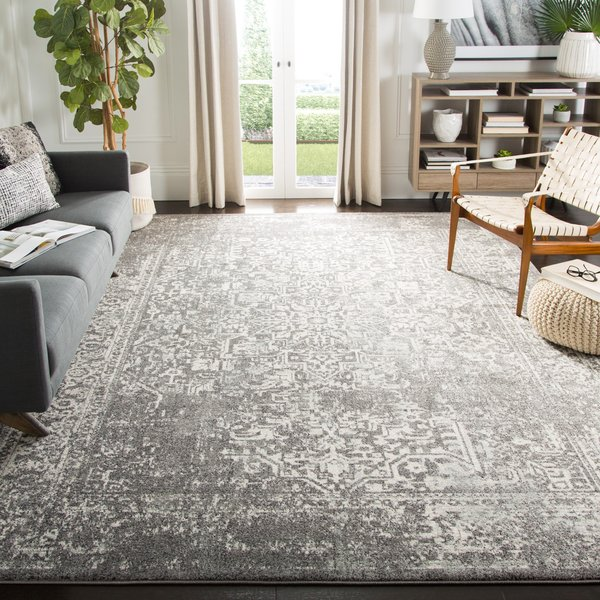 Grey, Ivory (D) Vintage / Overdyed Area Rug