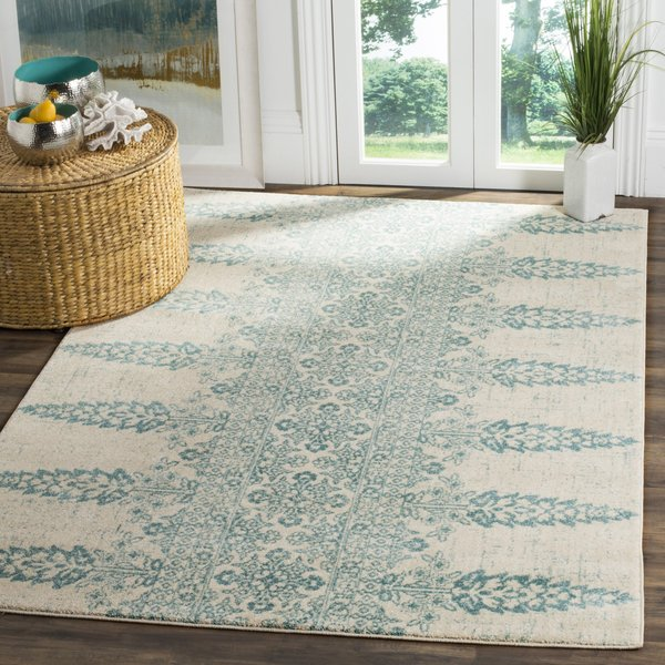 Ivory, Teal (F) Contemporary / Modern Area-Rugs