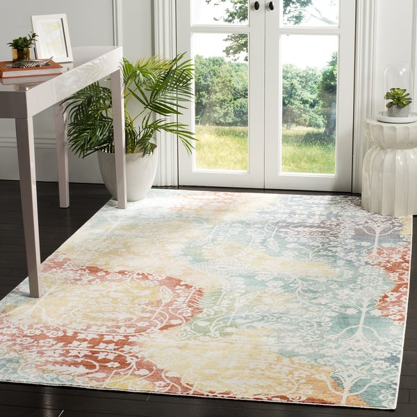 Blue, Yellow, Red (T) Contemporary / Modern Area Rug
