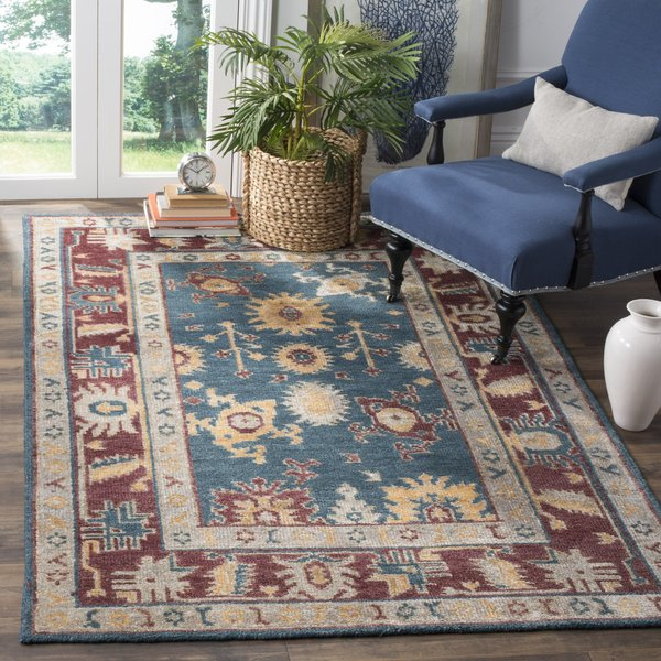 Blue, Red (B) Traditional / Oriental Area Rug
